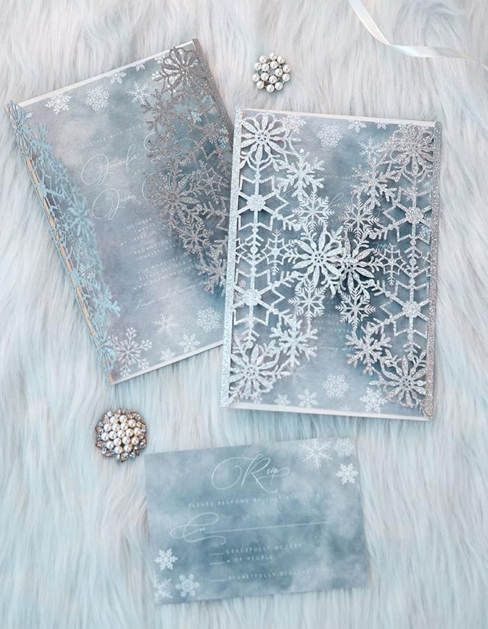 dusty blue and silver winter theme wedding invitations