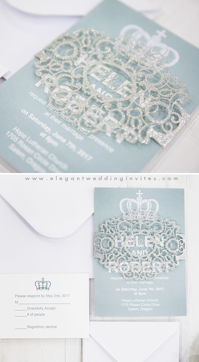 dusty blue and sparkly silver winter wedding invitations