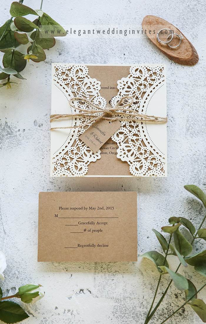 earthy tone elegant rustic laser cut fall and winter wedding invites