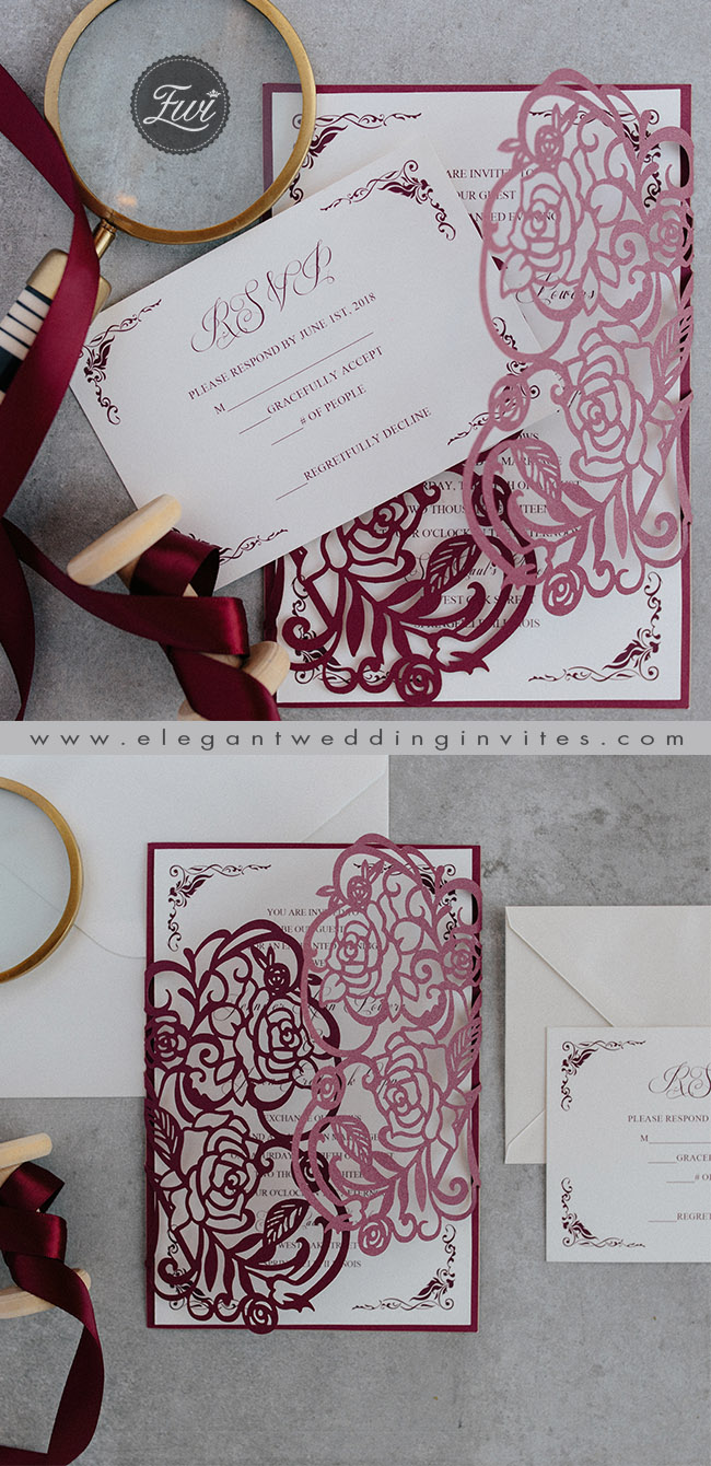 elegant formal vintage wedding invitation with floral laser cut wrap