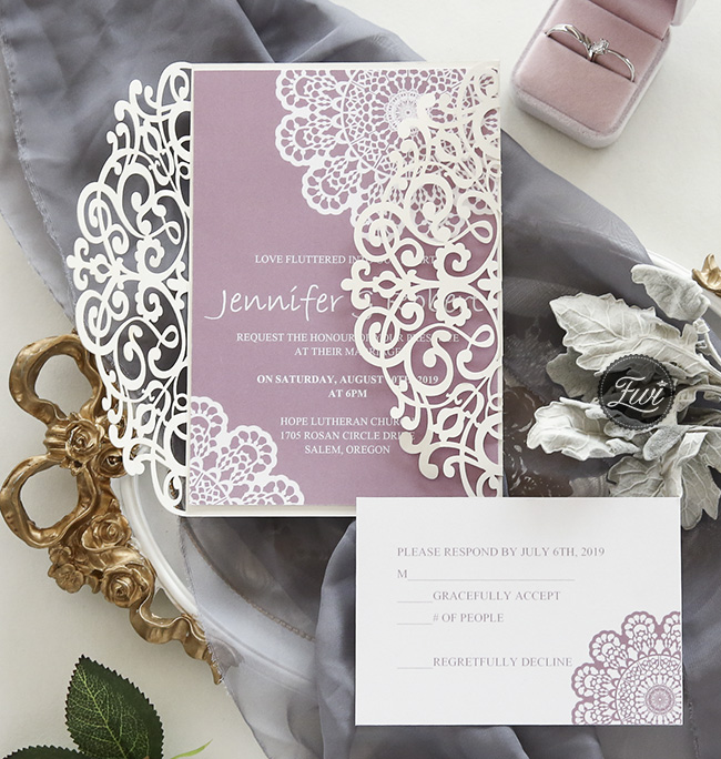 elegant mauve and ivory shades laser cut wedding invitations