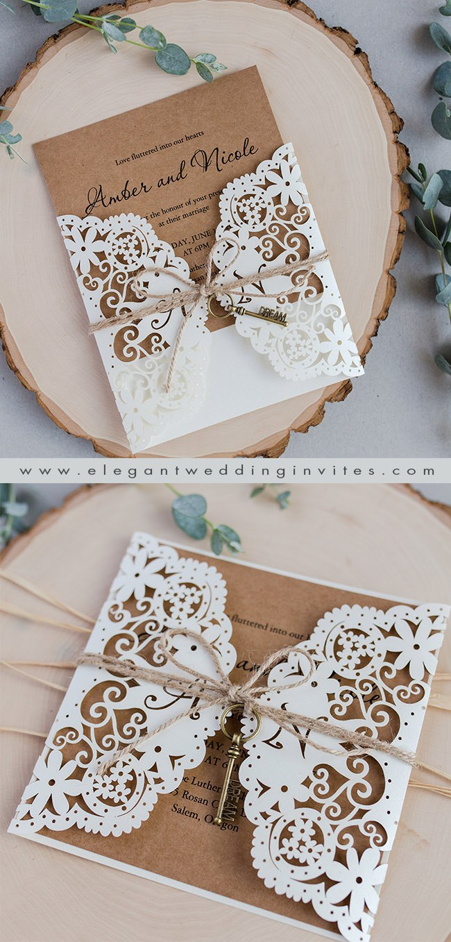 elegant rustic vintage laser cut wedding invitations