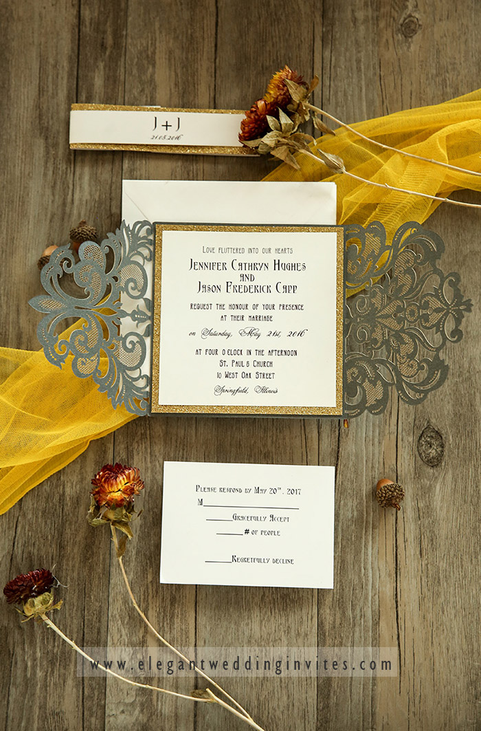 glitter gold and grey laser cut wedding invitations