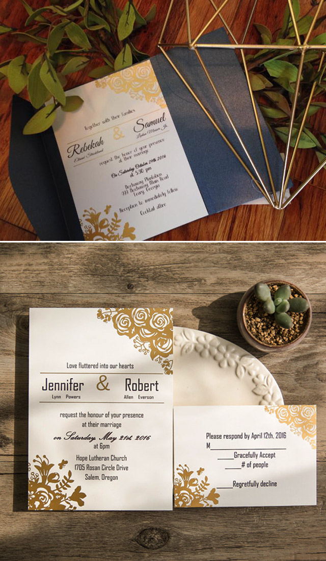 gold foil wedding invitations with navy blue pocket