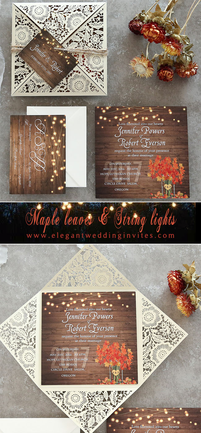 gorgeous maple leaves and string lights fall rustic wedding invitations
