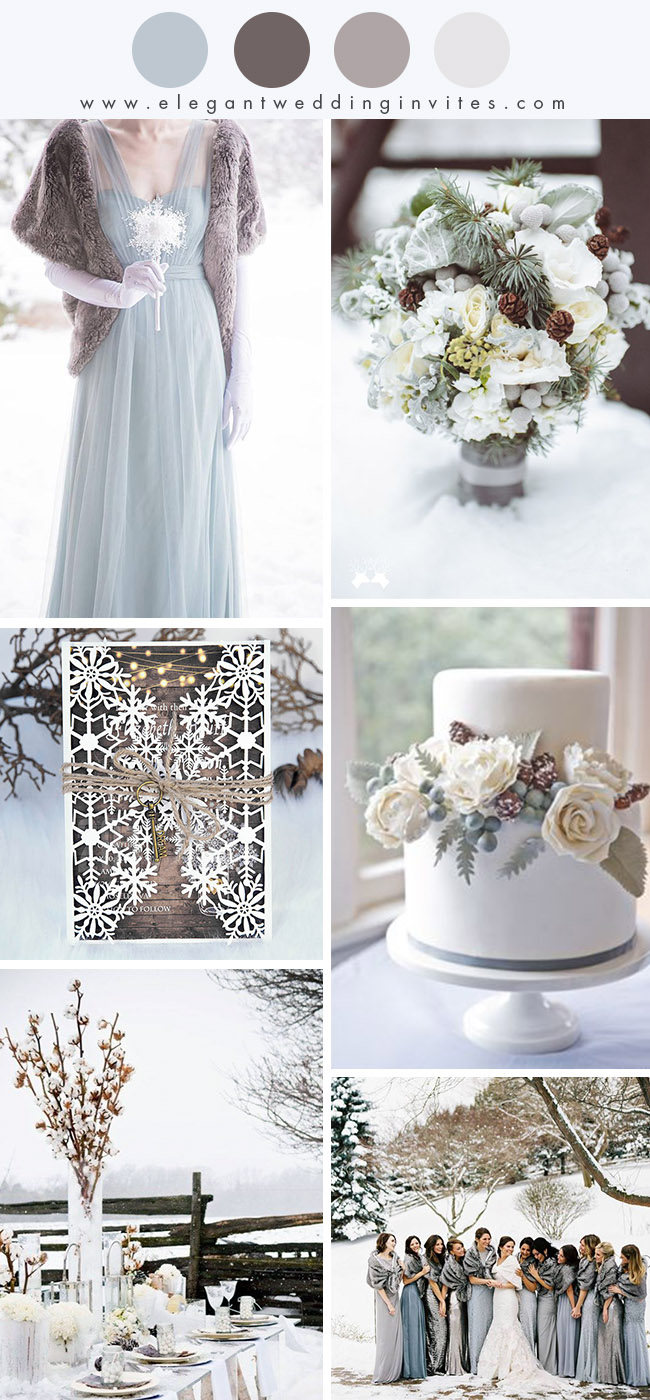 grey blue and brown winter wedding color inspiration