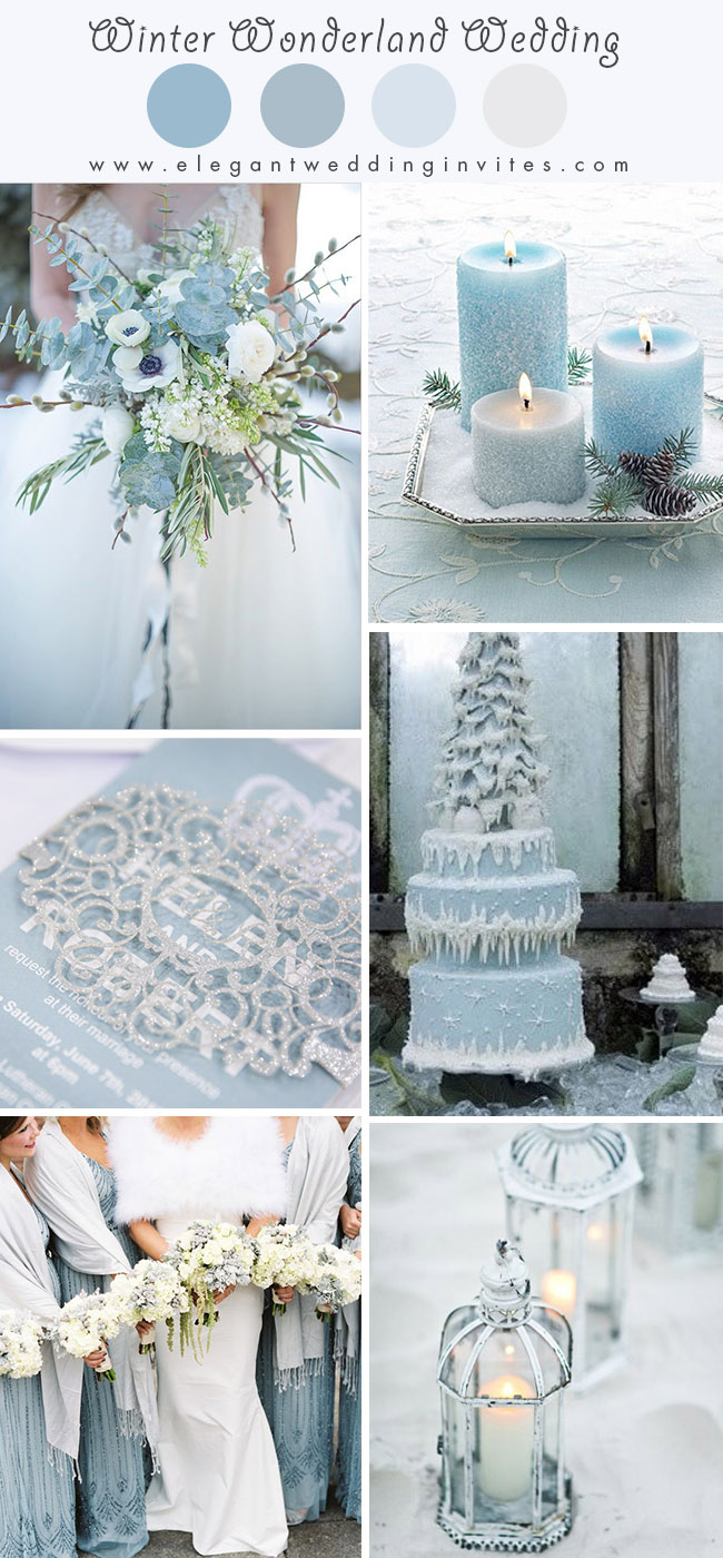 light blue wonderland theme snowy winter wedding color ideas