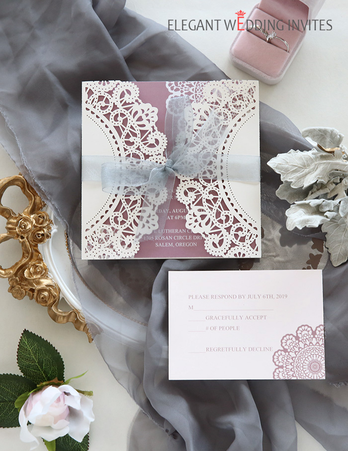 mauve and grey elegant laser cut wedding invitations