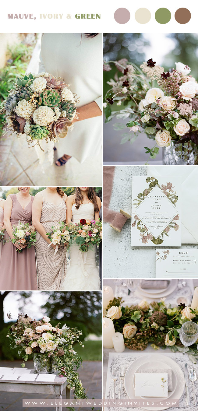 mauve,ivory and greenery wedding color ideas