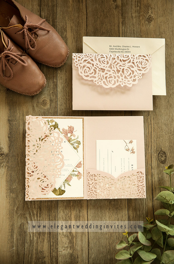 modern blush and mauve color laser cut wedding invitations