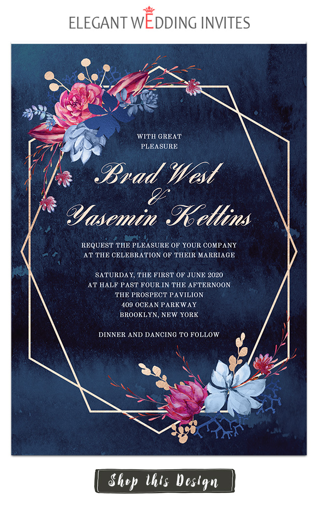 moody blue and magent purple wedding invtation template