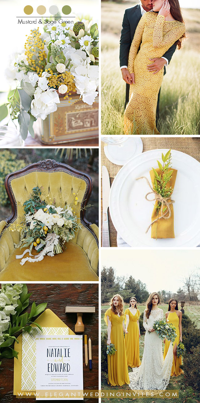 ustard yellow and sage green wedding color combos