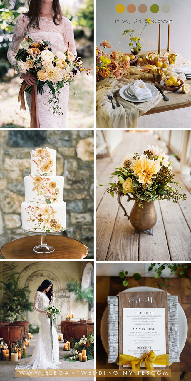 mustard yellow, orange and brown fall and winter wedding colors