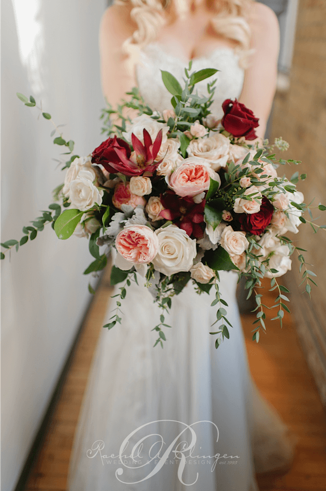 oversized blush pink and burgundy floral fall bridal bouquets