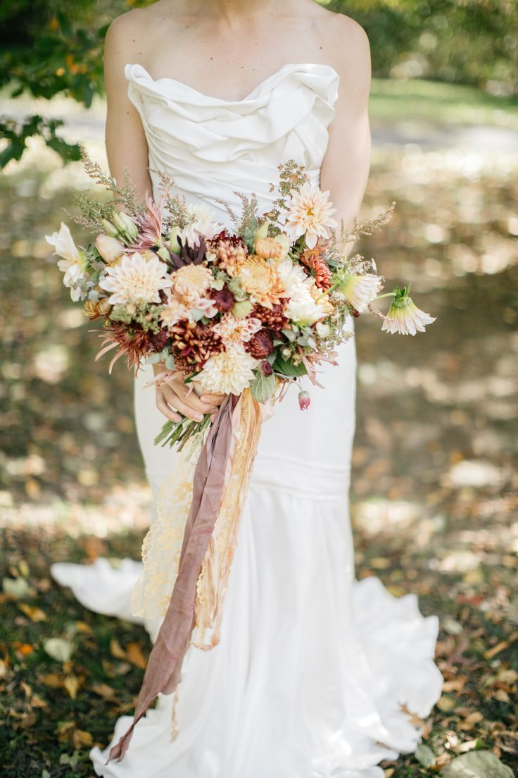 peach, cream and berry red fall bridal bouquet