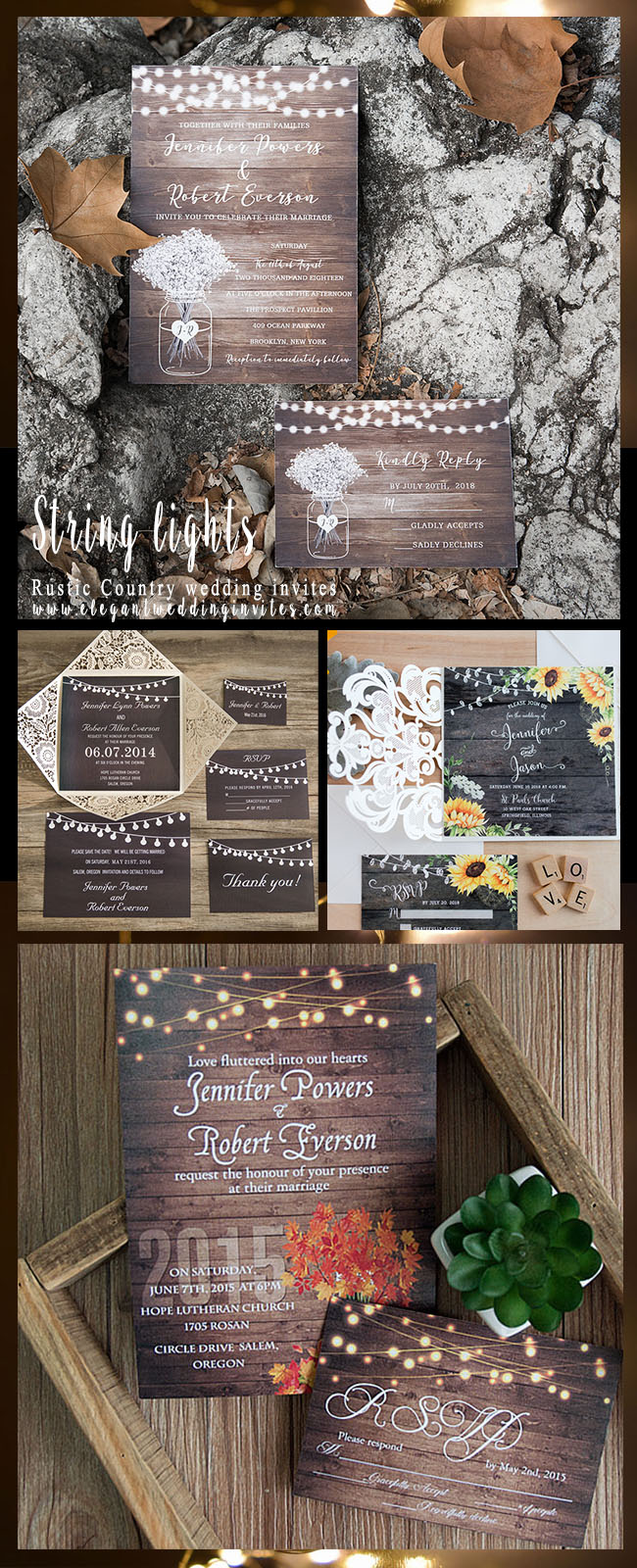 romantic string lights rustic country wedding invitations for fall weddings