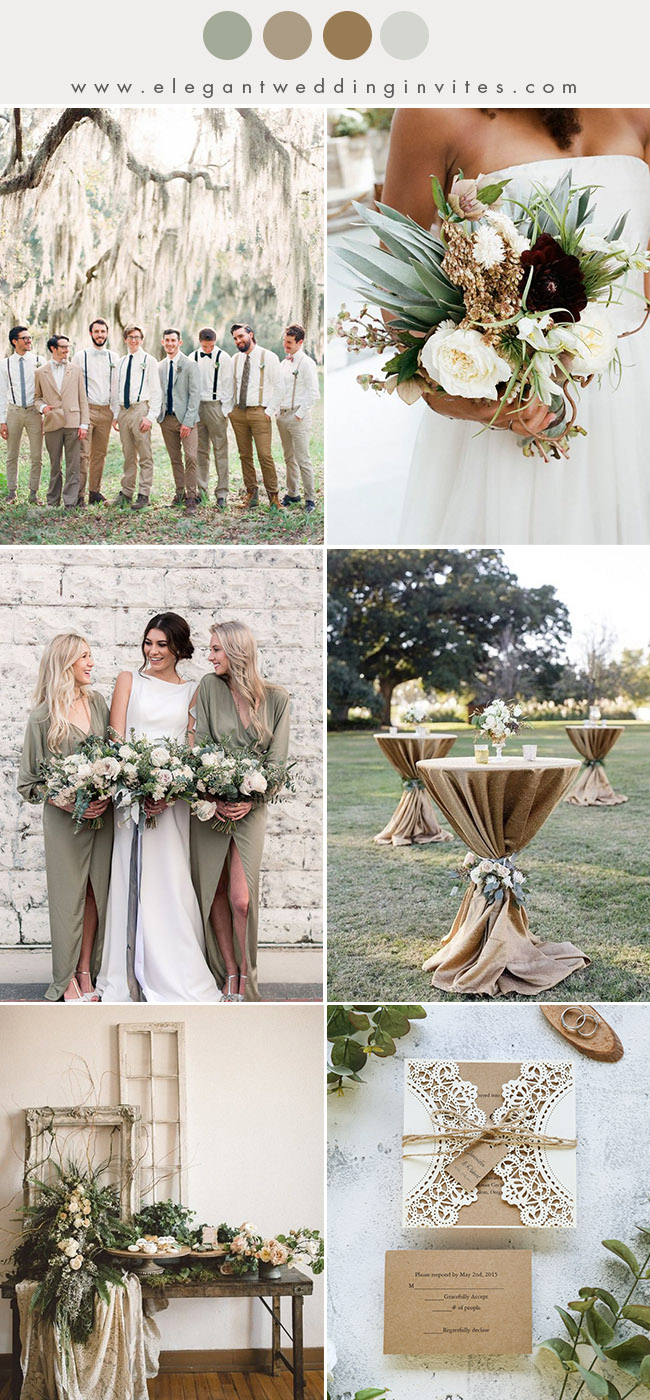 rustic olive green and warm beige fall and winter wedding color ideas