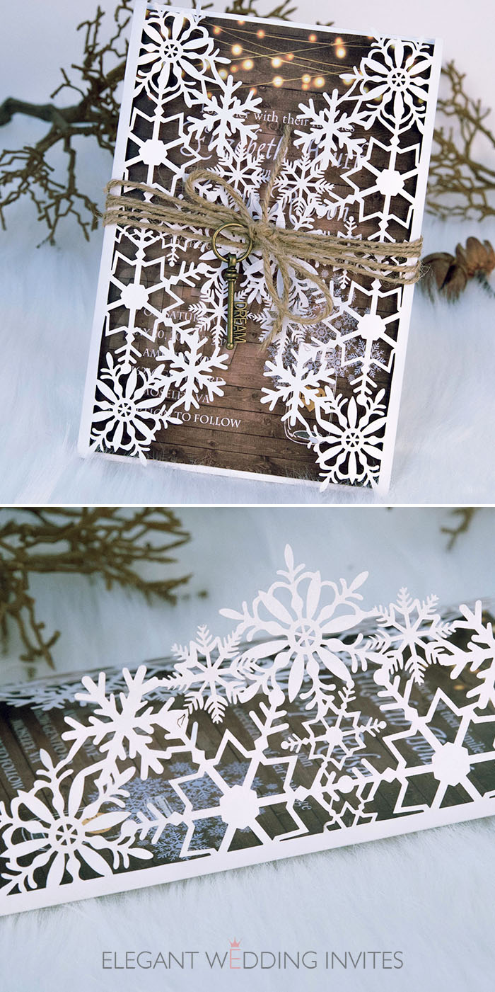 rustic winter wood snowflake laser cut wedding invitation kits