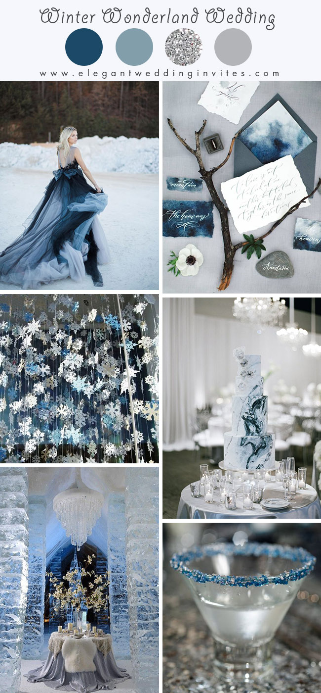 shades of blue and silver icy wonderland theme winter wedding ideas
