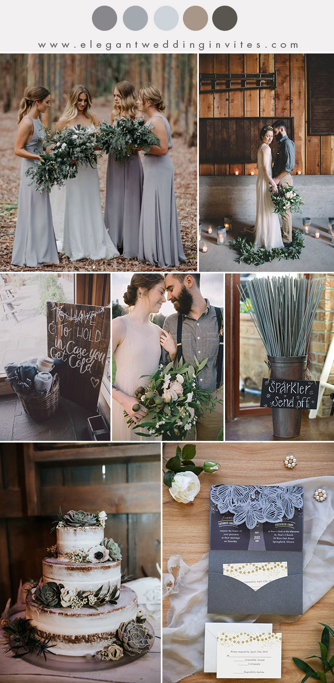 shades of muted grey and brown eartht tone fall and winter wedding colo palette
