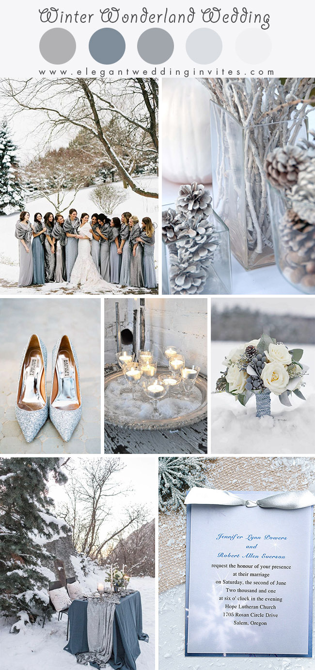 shimmering silver and dusty blue winter wonderland wedding colors