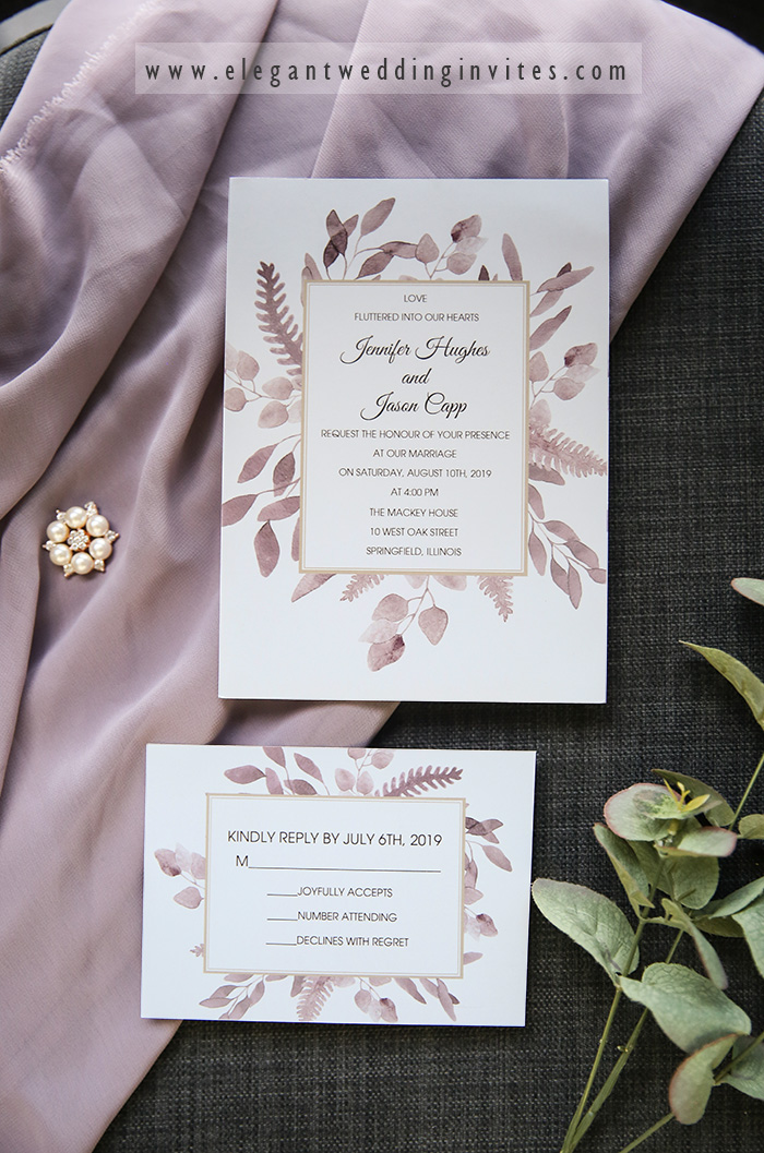 simple and stylish mauve leaves wedding invitation cards