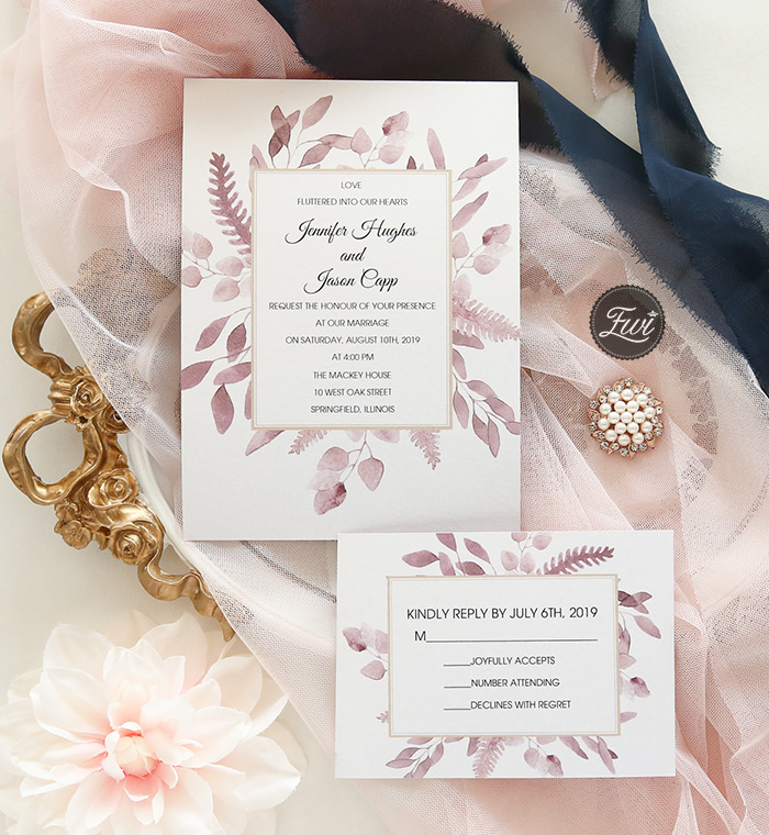 simple but stylish mauve leaves wedding invitation card