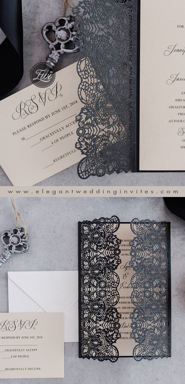 sophisticated black laser cut vintage wedding invitations