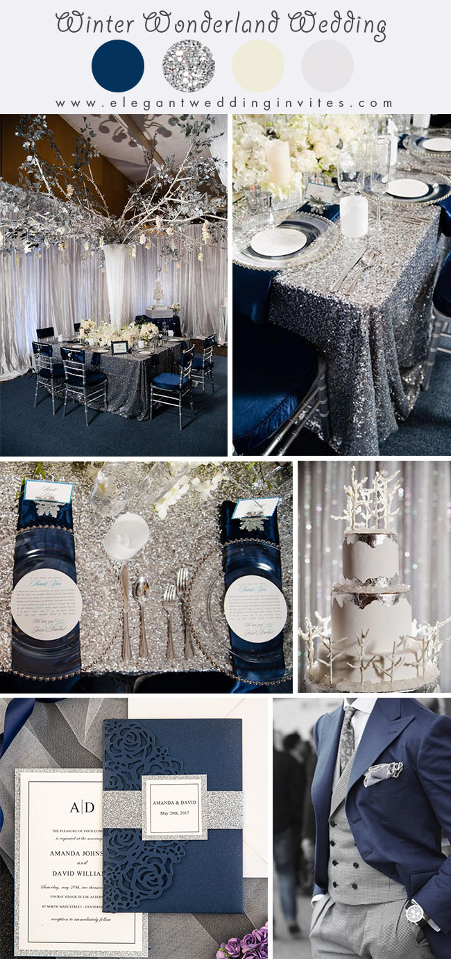 sparkly silver and navy blue wonderland theme winter wedding colors