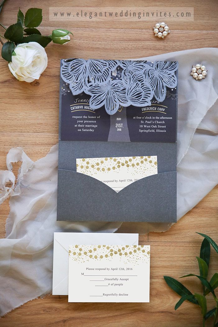 starry night dark grey laser cut rustic wedding invitations