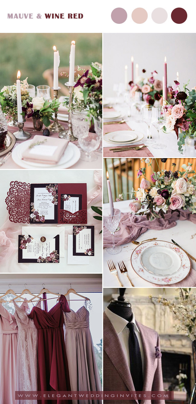 stunning mauve,wine,blush vintage inspired wedding colors