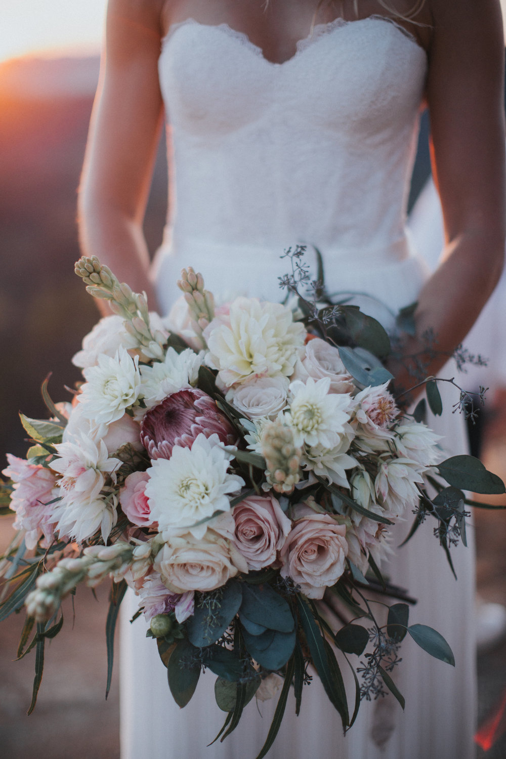 stylish blush and cream floral bridal bouquet