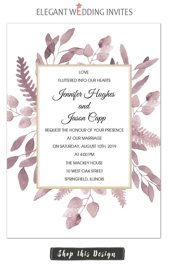 stylish mauve color wedding invitations