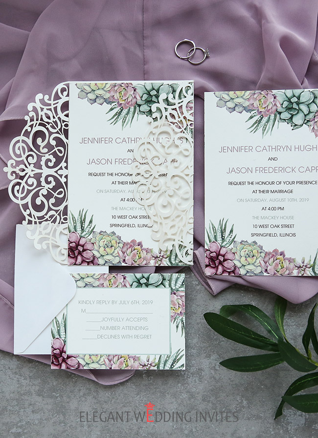 succulent wedding invitation with laser cut pocket