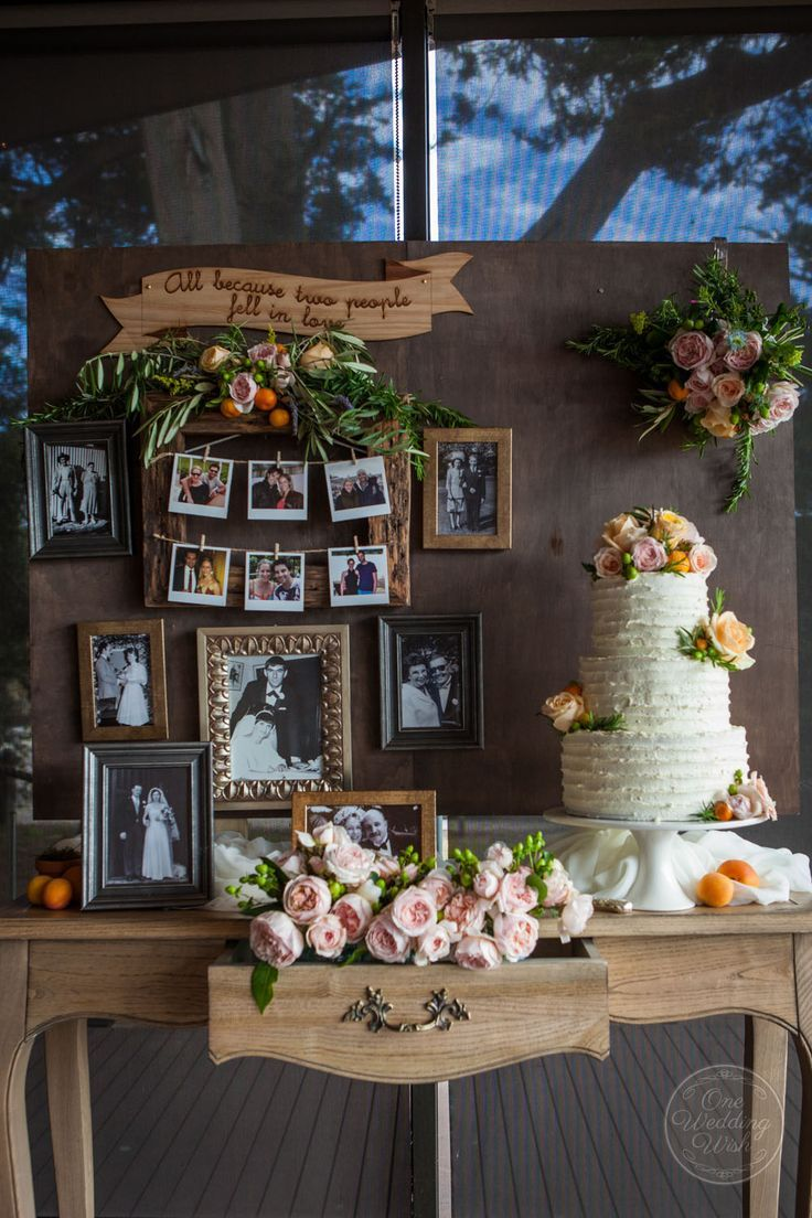 vintage photo display wedding ideas