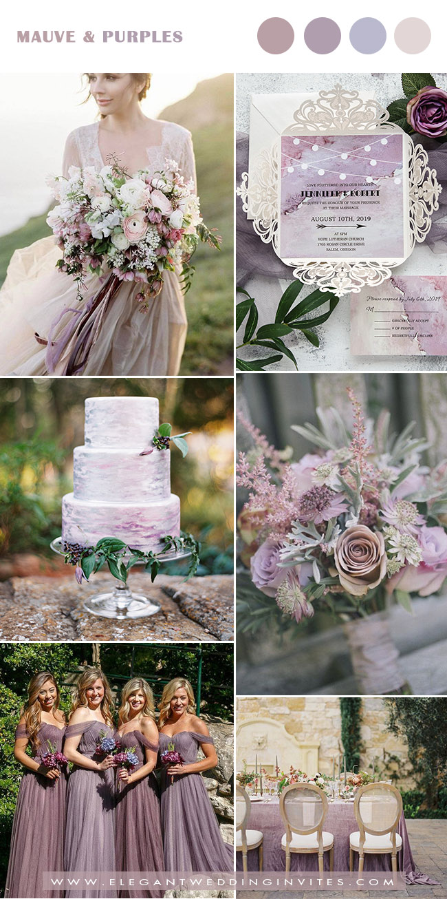 watercolor mauve and purple fall and winter wedding color inspiration