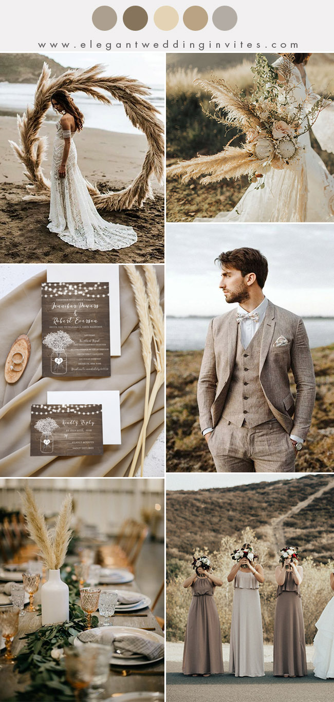 wild rustic pampas grass warm taupe fall and winter wedding ideas