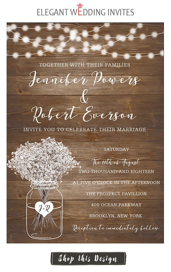wooden rustic wedding invitation card for fall and winter theme