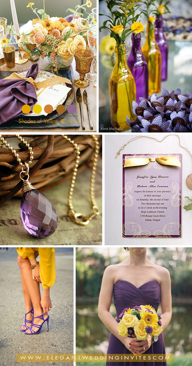 yellow and violet purple fall wedding colors