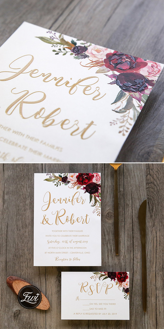 UV Printed rustic floral wedding invitation cards