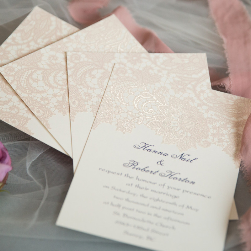 UV printed blush pink lace wedding invitations