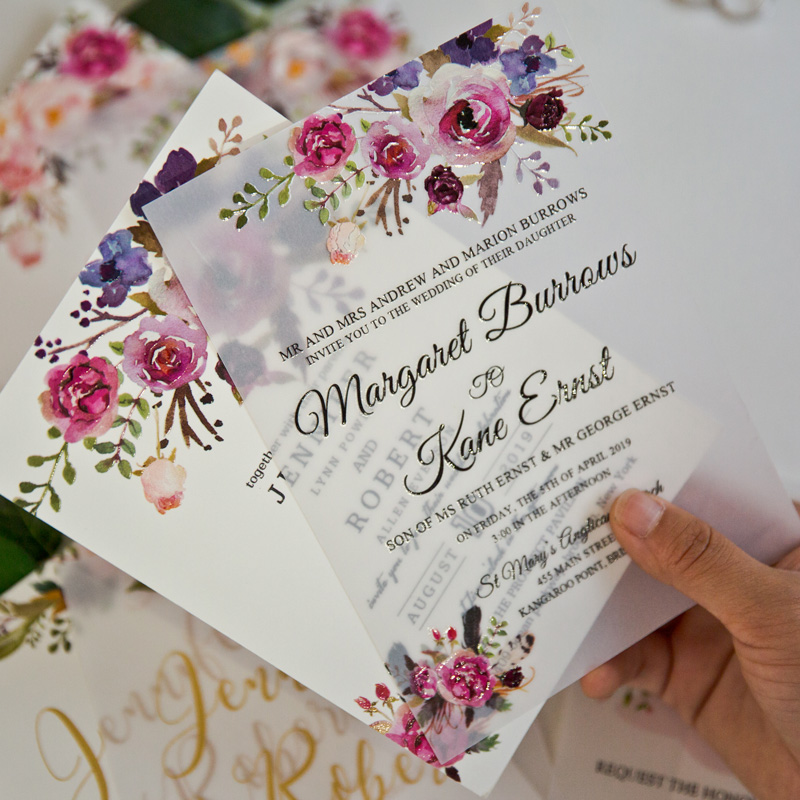 UV printing on vellum paper for wedding invitations