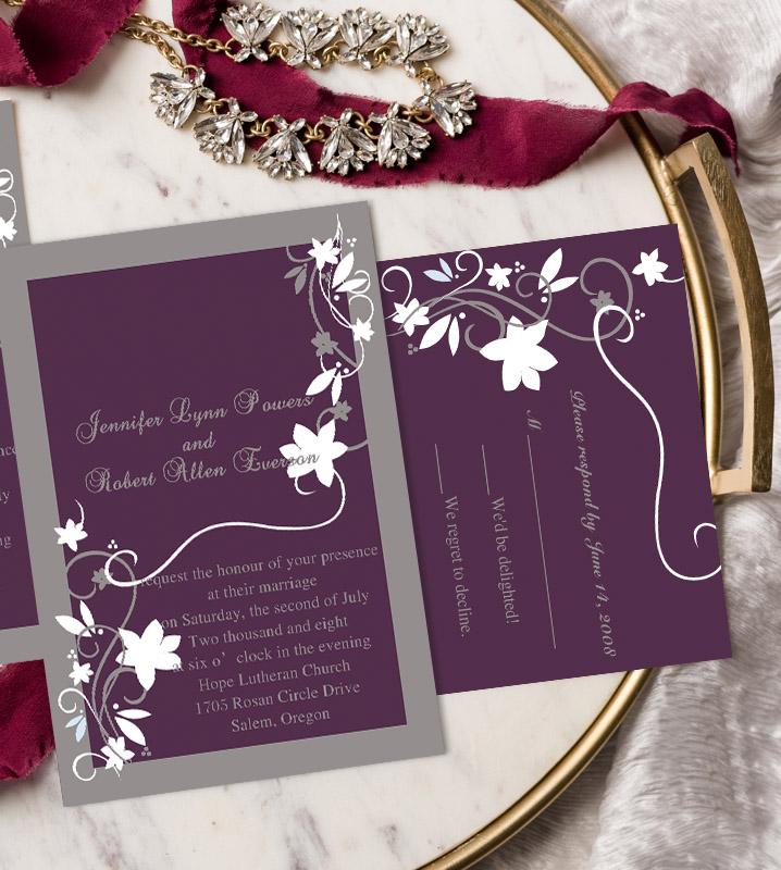 affordable plum purple and grey wedding invitations