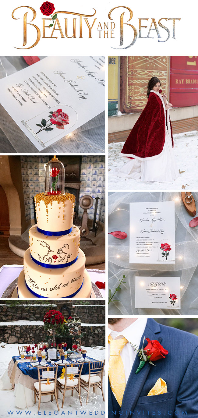 beauty and the beast theme fairytale snowy winter wedding ideas