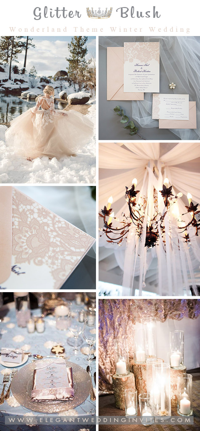 blush and silver sparkly princess winter wonderland wedding ideas