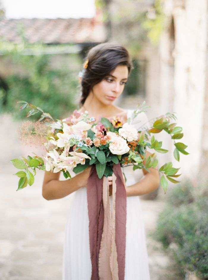 blush floral bridal bouquets with dusty rose ribbons