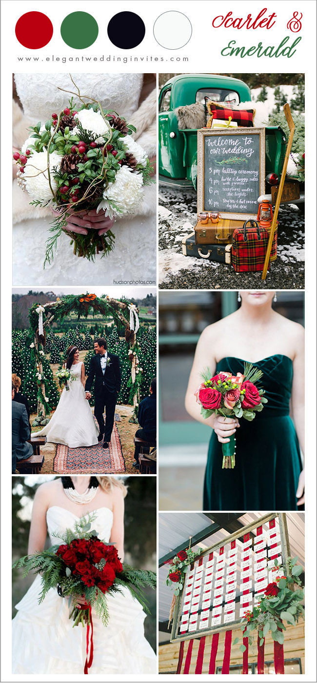 bold scarlet red and emetald green christmas wedding ideas