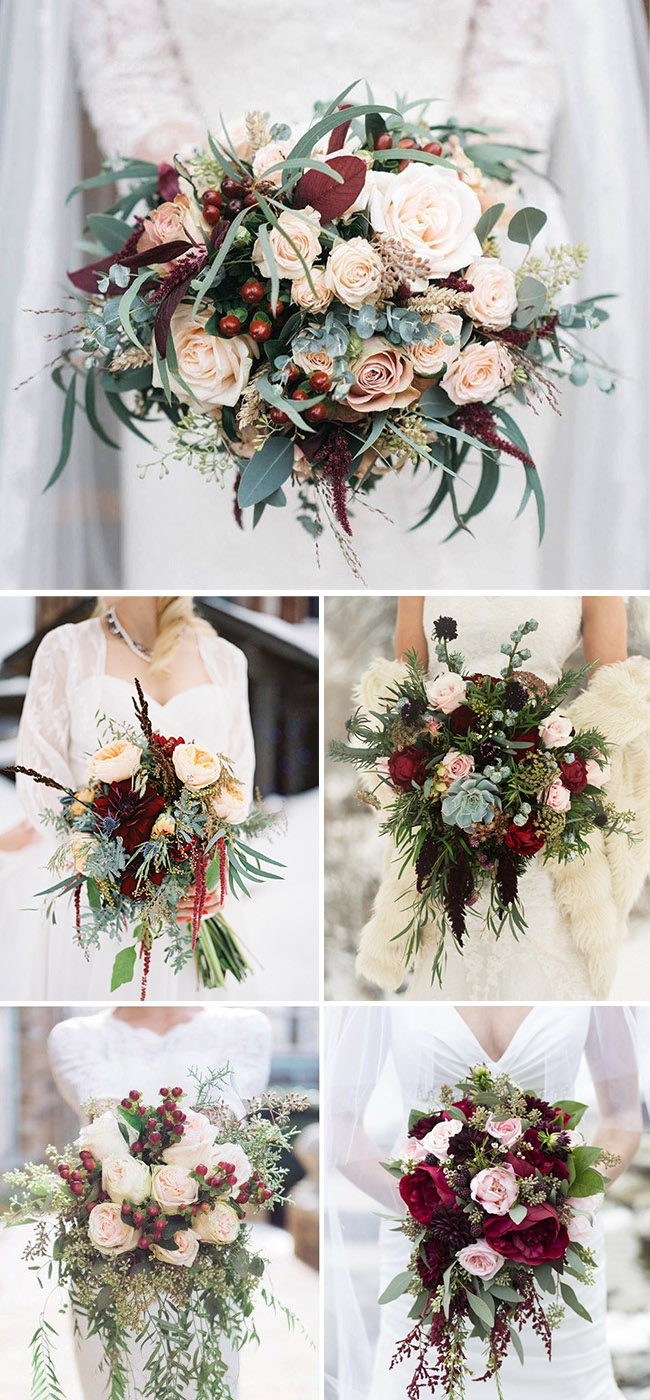 burgundy and blush winter bridal bouquets ideas