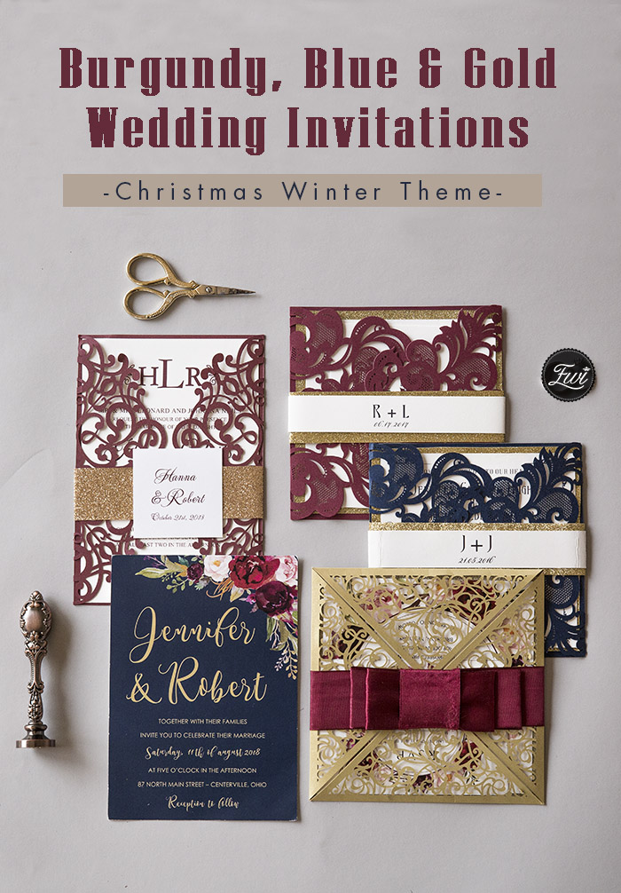 burgundy, blue and gold fall and winter wedding invitations for christmas theme
