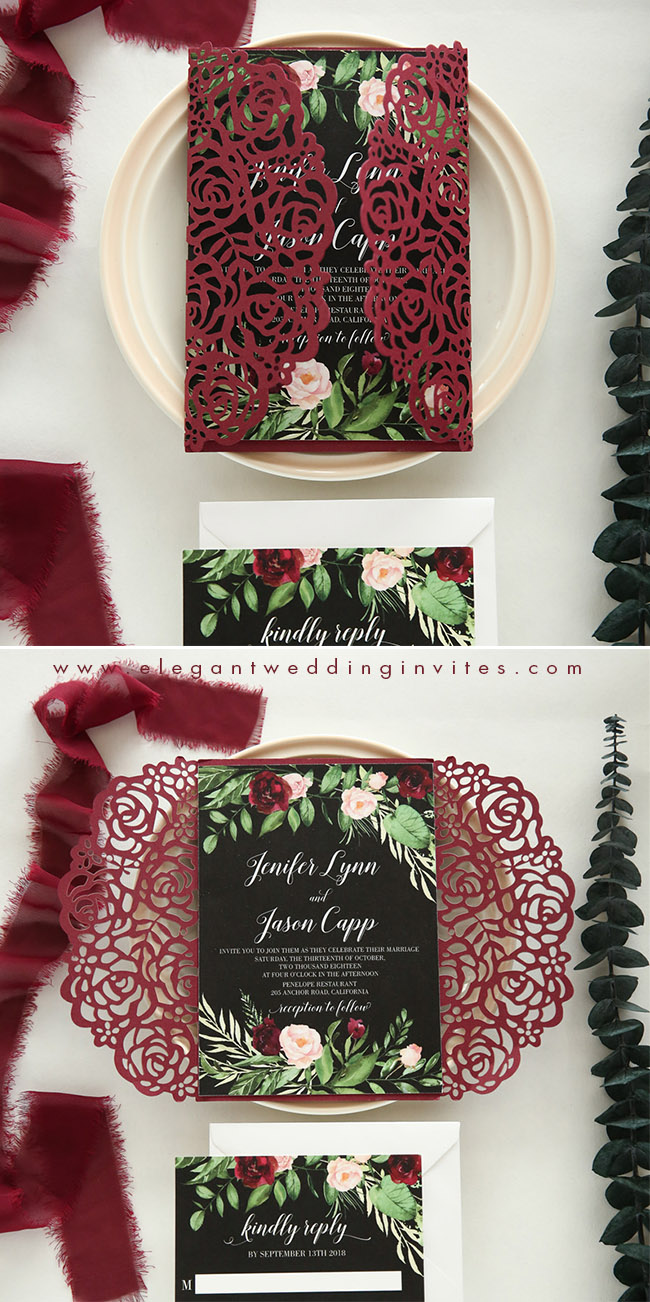 burgundy, greenery and black fall and winter wedding invitations